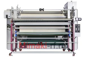 TitanJet RTX6L-1800. Каландровый термопрес с маслонаполненным барабаном c верхней загрузкой, ширина рабочей зоны – 1800 мм, диаметр барабана 550мм, в комплекте со столом и Автоматическим размоточным устройством, максимальная скорость - 4,8 м/мин. Автомати